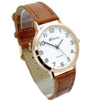 Ravel Mens Super-Clear Easy Read Quartz Watch Brown Strap White Face R0102.14.1A